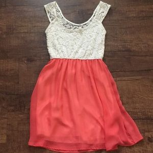 Dresses & Skirts - Coral and cream lace dress